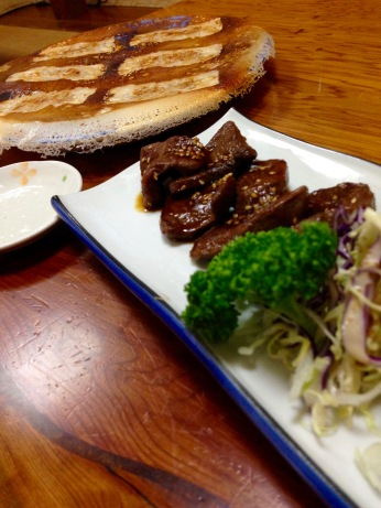 Deer yakiniku and a plate full of gyoza